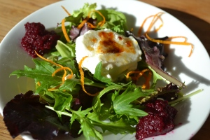 Caramelized Goat Cheese with Red Beet jam